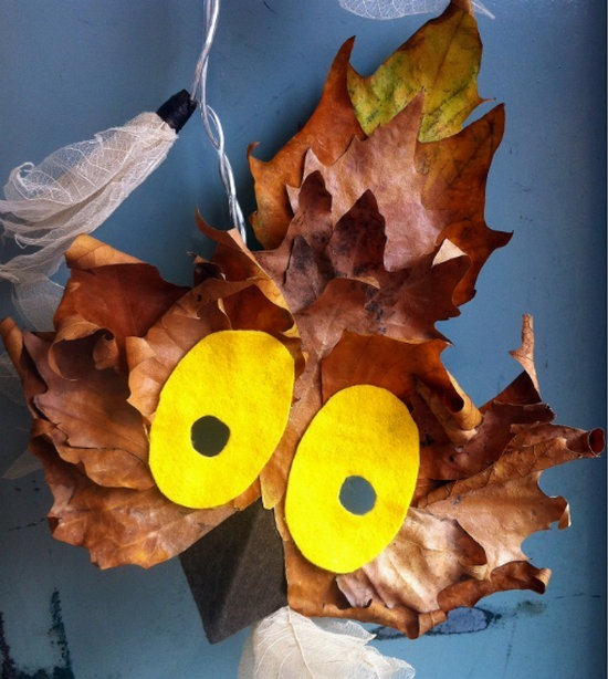 Owl Mask with Leaves