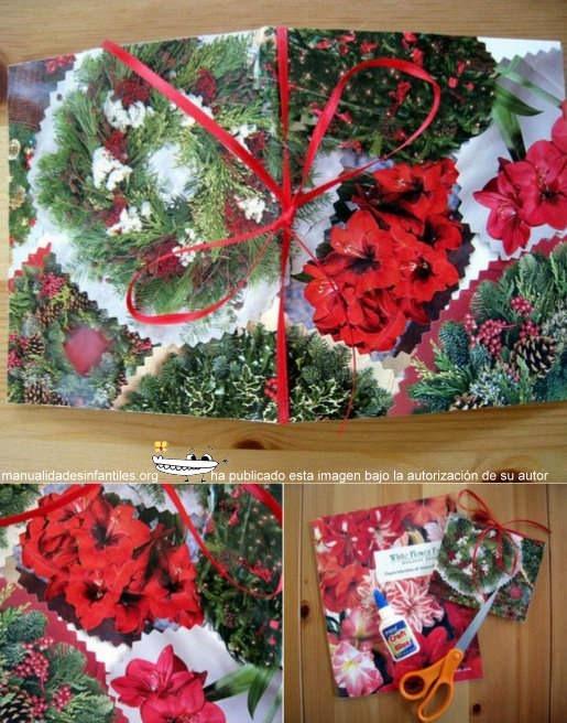 Tarjetas de navidad con papel de regalo manualidades - Manualidades paso a paso para navidad ...