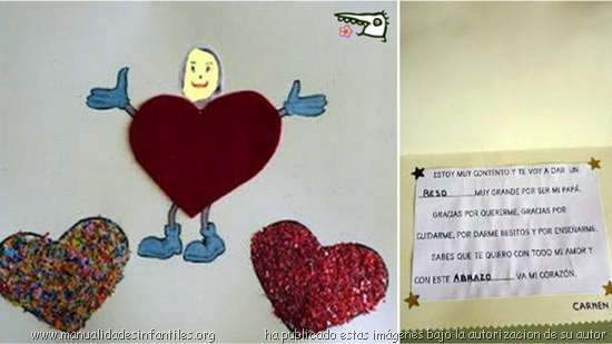 tarjeta de corazones sencilla para el dia del padre