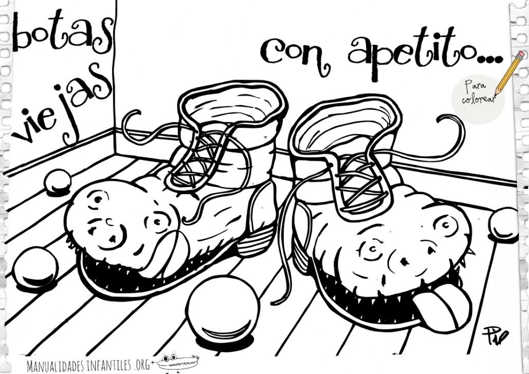 Botas viejas con buen apetito para colorear - Actividades para niños ...