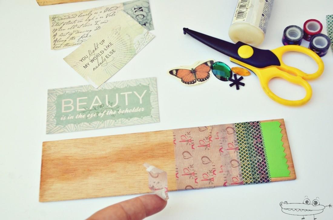 como decorar un lapicero con papel scrapbooking