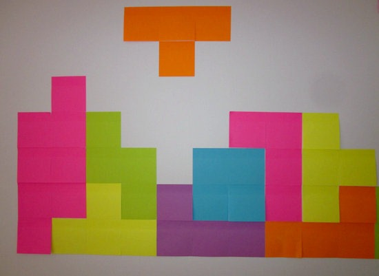 Decoracion del tetris con post-it