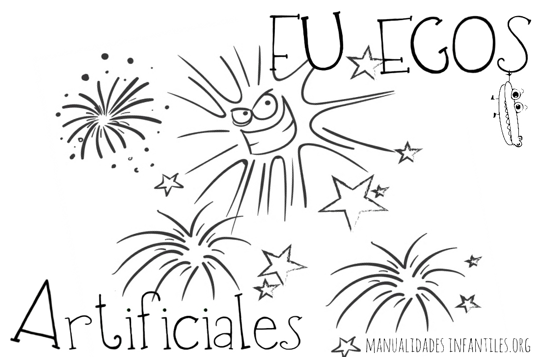 Fuegos artificiales para colorear