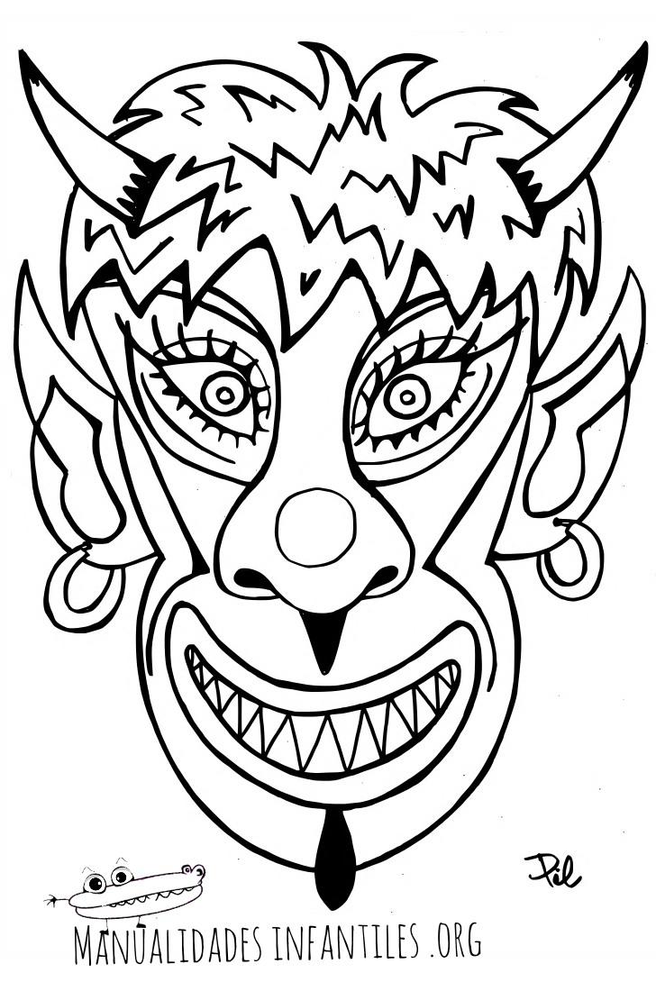 Máscara De Demonio Para Imprimir Y Colorear Actividades