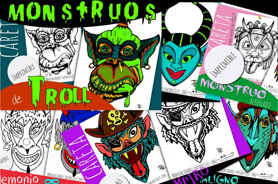 Mascaras de Monstruos para imprimir colorear