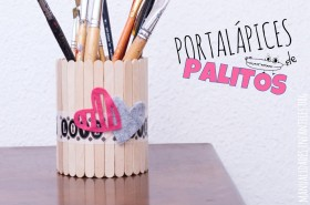 Portalapices de palitos