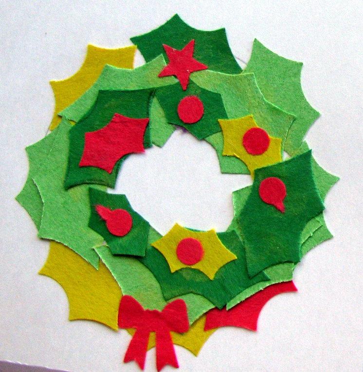 postales de navidad corona de fieltro