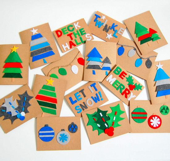 Tarjetas de navidad adornadas con fielro actividades - Manualidades de tarjetas de navidad para ninos ...