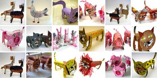 animales con tubos y carton