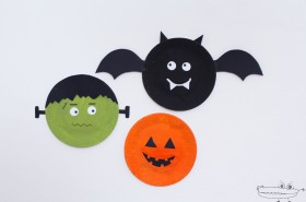 decoraciones de halloween con platos - Adornos Halloween