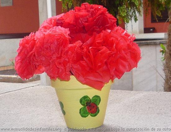 Maceta con Flores de Papel para el día de la madre | Manualidades ...