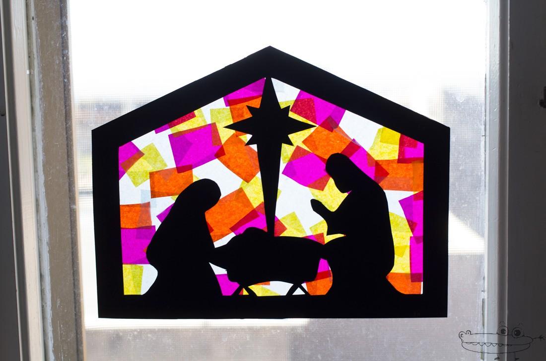 Natividad en falso vitral de papel manualidades infantiles - Papeles de vinilo para pared ...